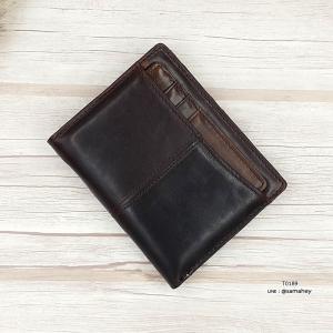 กระเป๋าสตางค์ผู้ชาย หนังแท้ ทรงตั้ง T0189