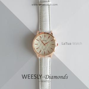 นาฬิกาข้อมือ รุ่น WEESLY-Diamonds ขาวล้วน