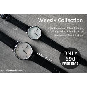 นาฬิกาข้อมือ หน้าปัดเล็ก คู่หน้าปัดใหญ่ สายหนังสีดำ รุ่น WEESLY