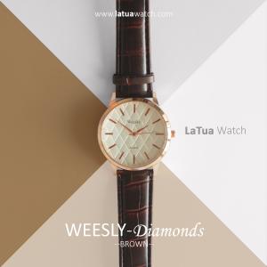 นาฬิกาข้อมือ รุ่น WEESLY-Diamonds ขาว-น้ำตาล