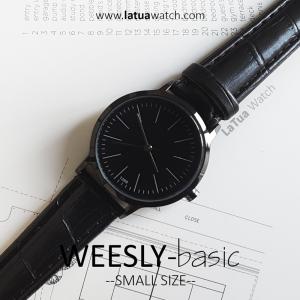 นาฬิกาข้อมือ หน้าปัดเล็ก รุ่น WEESLY-BASIC นาฬิกาผู้หญิง ดำล้วน