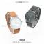 นาฬิกาข้อมือ รุ่น TOMI หน้าปัดขาว สายสีน้ำตาลเข้ม thumbnail 6