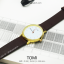 นาฬิกาข้อมือ รุ่น TOMI หน้าปัดขาว สายสีน้ำตาลเข้ม thumbnail 3