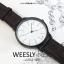 นาฬิกาข้อมือ หน้าปัดใหญ่ รุ่น WEESLY-BASIC หน้าปัดขาว สายหนังสีน้ำตาล thumbnail 1