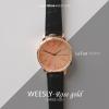 นาฬิกาข้อมือ หน้าปัดใหญ่ สายหนังสีดำ รุ่น WEESLY-Rose Gold