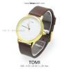 นาฬิกาข้อมือ รุ่น TOMI หน้าปัดขาว สายสีน้ำตาลเข้ม