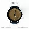 นาฬิกาข้อมือรุ่น Richa หน้าปัดน้ำตาล-สายหนังสีดำ