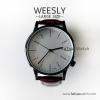 นาฬิกาข้อมือ หน้าปัดใหญ่ สายหนังสีน้ำตาล รุ่น WEESLY นาฬิกาผู้ชาย