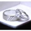 แหวนคู่รักเงินแท้ เพชรสังเคราะห์ ชุบทองคำขาว รุ่น LV15071516 Tollway Thunder & 5mm Square Elegrant