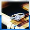 แหวนเงินแท้ เพชรสังเคราะห์ ชุบทองคำขาว รุ่น RG1531 Diamond Shield