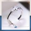 แหวนเงินแท้ เพชรสังเคราะห์ ชุบทองคำขาว รุ่น RG1504 Two Step G mini
