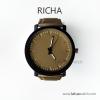 นาฬิกาข้อมือรุ่น Richa หน้าปัดน้ำตาล-สายหนังสีน้ำตาล