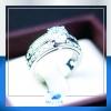 แหวนเงินแท้ เพชรสังเคราะห์ ชุบทองคำขาว รุ่น RG1436 H&S Curve