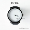 นาฬิกาข้อมือรุ่น Richa หน้าปัดขาว-สายหนังสีดำ