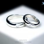แหวนคู่รักเงินแท้ เพชรสังเคราะห์ ชุบทองคำขาว รุ่น LV14561457 DOT B&G