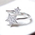 แหวนเงินแท้ เพชรสังเคราะห์ ชุบทองคำขาว รุ่น RG1413 Two Star