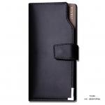 กระเป๋าสตางค์ผู้ชาย ทรงยาว JI&XIA Button Metal Black - สีดำ