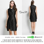 DR_8259 (pre-order), ชุดเดรสแบรนด์ยุโรปคอจีนสีดำ, European Style, Feb, 2016, Dress, Black,