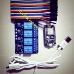 ชุดยอดนิยม ชุดควบคุมไฟฟ้าผ่านเน็ต NodeMcu v2 + สายจั้ม +Relay 4 Out + Micro Usb
