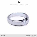 แหวนเงินแท้ เพชรสังเคราะห์ ชุบทองคำขาว รุ่น RG1631 Tollway Dimension