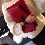 BG_2745, กระเป๋าแฟชั่นผู้หญิง Grey - Black - Red ,Clutch Handbag , Nov , 2015, Chic Bags , ~1000-1999
