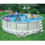 สระว่ายน้ำสำเร็จรูป Intex Ultra Frame แบบกลม 16 ฟุต สูง 122 ซม. + อุปกรณ์ครบชุด + ส่งฟรี