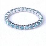 แหวนเงินแท้ พลอยแท้ ชุบทองคำขาว รุ่น RG1428bt Eternity Blue Topaz