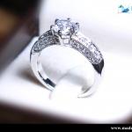 แหวนเงินแท้ เพชรสังเคราะห์ ชุบทองคำขาว รุ่น RG1571 1.00 carat HS Vintage