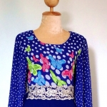 ชุดเดรสเด็กหญิงมุสลิมมะฮฺ ราคาพิเศษ !!!เดรสยาวผ้าชีฟองสีน้ำเงินลายผีเสื้อ