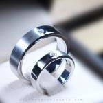 แหวนคู่รักเงินแท้ เพชรสังเคราะห์ ชุบทองคำขาว รุ่น LV15691602 Dot 2 Tone