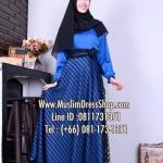 ชุดเดรสมุสลิมแฟชั่นพร้อมผ้าพัน ชุดเดรสยาวลูกไม้แต่งริ้ว ID : BLc0000001