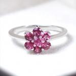 แหวนเงินแท้ พลอยแท้ ชุบทองคำขาว รุ่น RG1316pt Little Flower Pink Tourmaline