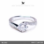 CZ Diamond Sterling Silver Ring with Rhodium Plated : RG1561 0.60 Carat Dazzling