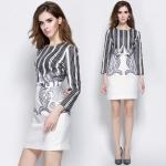 DR_8119, ชุดเดรสแบรนด์ทรง Sheath Dress โทนเทาขาว, Europe -Working Dress, Nov, 2015, Grey, S-XXL, ~1000-1999