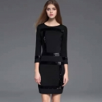 DR_9134 (pre-order) ชุดเดรสทำงาน ปักเหลื่อมสีดำ, 2017, Dress, Black, M-L-XL-XXL-3XL