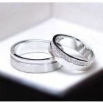 แหวนคู่รักเงินแท้ เพชรสังเคราะห์ ชุบทองคำขาว รุ่น LV14691470 Subway Bar Plain & Subway Bar