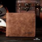 กระเป๋าสตางค์ผู้ชาย ทรงสั้น BOGESI รุ่น Clear - สีน้ำตาล