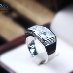 CZ Diamond Sterling Silver Ring with Rhodium Plated : RG1575 Pharoah