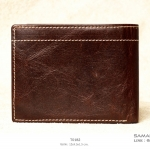กระเป๋าสตางค์ผู้ชาย หนังแท้ ทรงสั้น T0182 - สีน้ำตาลเข้ม