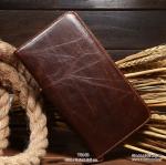 กระเป๋าสตางค์ผู้ชาย หนังแท้ ทรงยาว Wallet Long Leather Zipper - สีน้ำตาลเข้ม