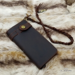 กระเป๋าสตางค์ผู้ชาย หนังแท้ ทรงยาว Leather Rock - สีน้ำตาลดำ