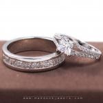 แหวนคู่รักเงินแท้ เพชรสังเคราะห์ ชุบทองคำขาว รุ่น LV14341516