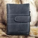 กระเป๋าสตางค์ผู้ชาย หนังแท้ ทรงตั้ง รุ่น GUBINTU Line Button Zip - สีดำ