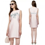 DR_7866, ชุดแซกแขนกุดสีชมพู ลาย Ribbon, Europe Style, May, 2015, Dress, Pink , S-XXL, ~2000-2999