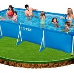 สระว่ายน้ำสำเร็จรูป สี่เหลี่ยม Intex 4.5m x 2.2m x 0.84m พร้อมเครื่องกรองน้ำ