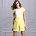 DR_8732 (pre-order) เดรสยุโรปแขนสั้น โทนเหลืองพาสเทล, Aug, 2016, Dress, Yellow, S-M-L-XL, ~1500-1999