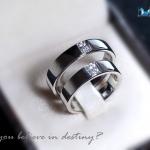 แหวนคู่รักเงินแท้ เพชรสังเคราะห์ ชุบทองคำขาว รุ่น LV15231523 Double Dot