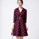 DR_9136 (pre-order) ชุดเดรสลายสก๊อต เปะ 100%, 2017, Dress, Red, S-M-L-XL-XXL