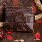 กระเป๋าสตางค์ผู้ชาย หนังแท้ ทรงสั้น Short Leather Wax - สีน้ำตาลเข้ม
