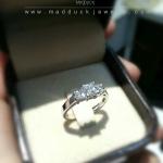 แหวนเงินแท้ เพชรสังเคราะห์ ชุบทองคำขาว รุ่น RG1517 Two Step Square G
